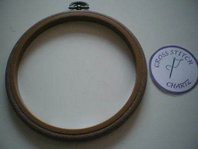 """5""""  WOODGRAIN Flexi Hoop Frame for Cross Stitch Embroidery Craft Display"""
