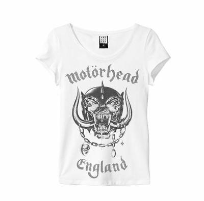 Motorhead 'England' Womens T-Shirt (White) - Amplified Clothing- NEW & OFFICIAL!