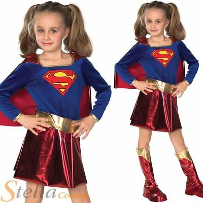 Girls Deluxe Supergirl Costume Kids Superhero Fancy Dress Child Outfit