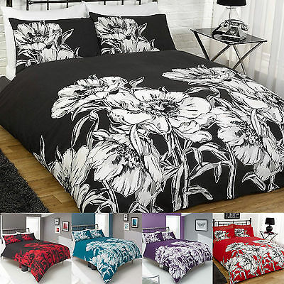 Amelia Poppies Duvet Quilt Cover And Pillowcase Set Single Double King All Sizes