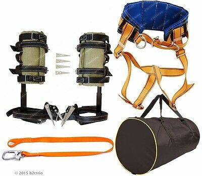 Tree Climbing Spikes Kit,Safety Belt With Straps,Safety Lanyard,Bag /spur gaffs