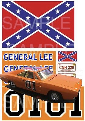 General Lee 1:6, 1:10, 1:18, 1:24, 1:32 scale water slide decals or stickers