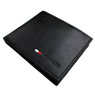New Men's Tommy Hilfiger Leather Credit Card Coin Id Wallet 31Tl25X020 Black