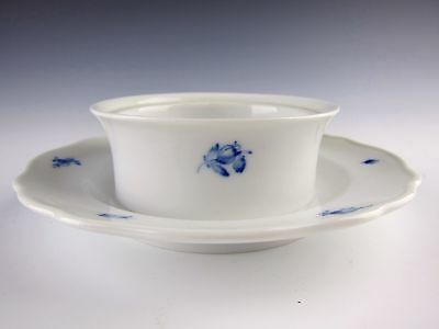 Meissen China BLUE FLOWER Round Butter Bowl Attached Underplate No Lid EXCELLENT