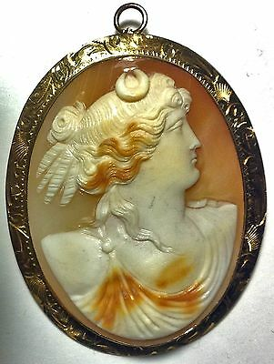 Victorian Cameo Depicting A Roman Style Lady Set On 10 Kt Gold Hand Made Frame