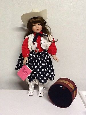Preowned Paradise Galleries Porcelain Patriotic Cowgirl Doll Free Shipping! D