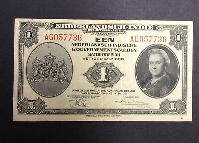 1943 1 gulden Netherlands Indies circulated condition - AG057736