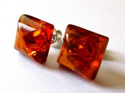 Genuine Baltic amber earrings, cognac rectangle shape, 925 sterling silver stud