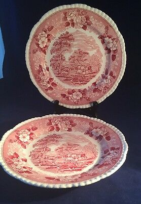 """Adams English Scenic  Staffordshire Two 10"""" Dinner Plates Pink"""