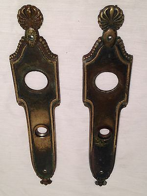 "12"" Pair Of Antique Door Knob Back Plates Heavy"