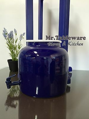 Water Crock Solid Blue Porcelain Ceramic Water Dispenser with Tomlinson Faucet