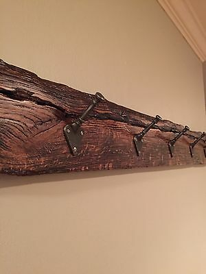 """49"""" Reclaimed wood coat rack, rustic wall hanger with cast iron hooks"""