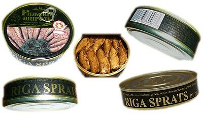 Canned Sprats in Oil Smoked Riga Fish Baltic Seafood Can Sets, Шпроты 160gr