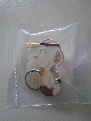 Reverse Antique Gold Colored Athletic (Tennis themed) Snoopy Pin