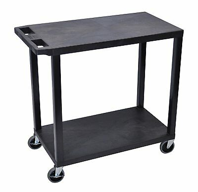 Luxor EC22-B Utility Cart With Two Flat Shelves Black, Weight Capacity 400 lbs
