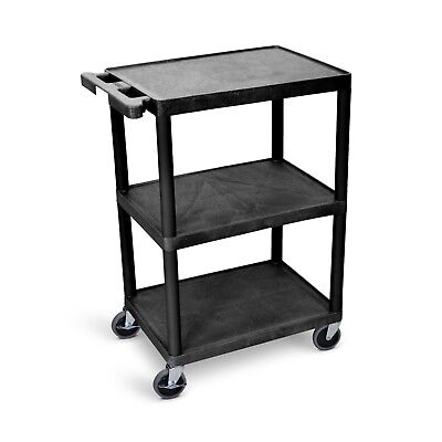 Luxor Multipurpose Utility Cart with 3-Shelf & Swivel Casters, Black HE34-B New