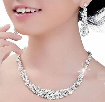 Wedding Bridal Party Jewelry Set Rhinestone Diamante Crystal Necklace & Earrings