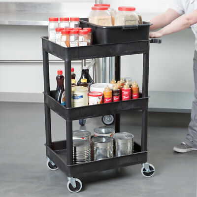 Luxor 300-lbs Capacity 3 Tub Plastic Utility Cart in Black, STC111-B New