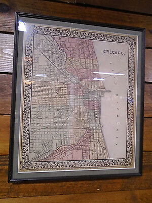 FRAMED COLOR MAP OLD CHICAGO 1867 TOWN LAYOUT by S. AUGUSTUS MITCHELL   (1305-C)