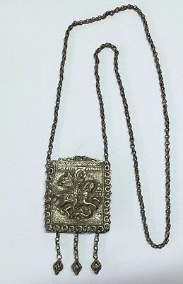 Antique Greek Saint George Silver Amulet Pendant Necklace Jesus Christ Will Win