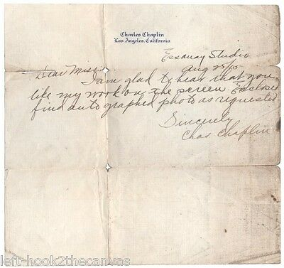 1915 CHARLIE CHAPLIN hand written & signed letter to a fan from Essany Studios!!