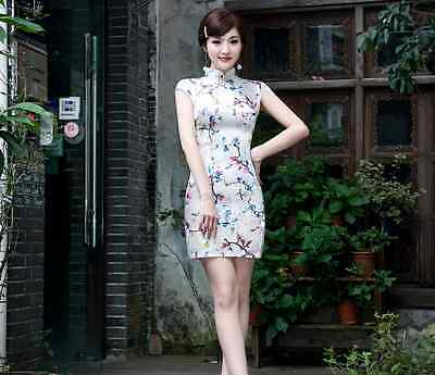 Short sleeve Oriental Cheongsam Cheong-Sam Qipao Dress in Cherry Blossom Print