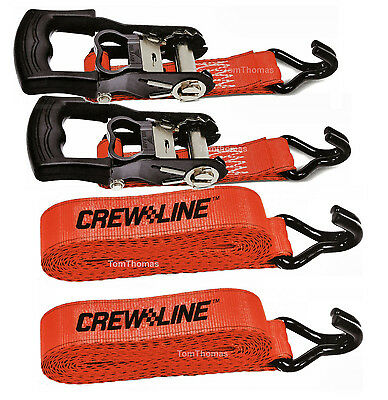 2 x Crew Line Heavy Duty Ratchet Straps - 1000lbs Load Brand New