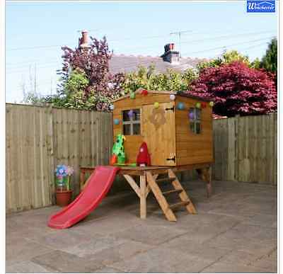 Kids Tree House Playhouse Play Wooden Tower Treehouse Childrens Outdoor Slide