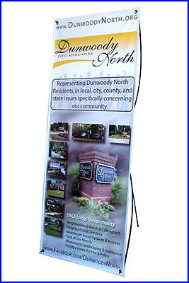 "X Banner Stand W24""xH64"" with FREE Printing, Trade Show Display"