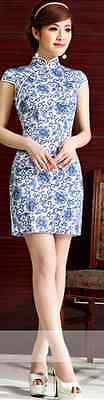 Short sleeve Oriental Cheongsam Cheong-Sam Qipao Dress in Blue Flower Print