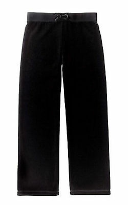 Juicy Couture~Girls Black Original Leg Basic Velour Pants~8~Nwt