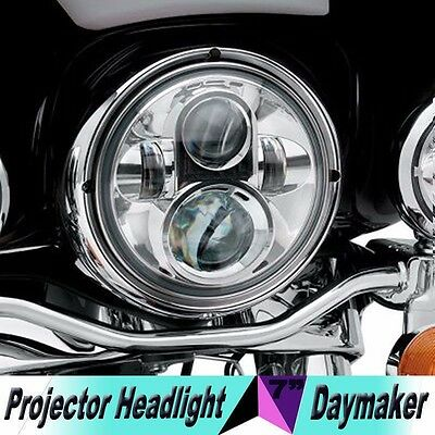 "7"" LED Chrome Projector Daymaker Headlight For Harley Road King Classic FLHR"