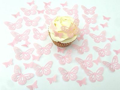 48 Edible Ditsy Light Pink Pre Cut Butterflies Wafer Cupcake Toppers 2 designs