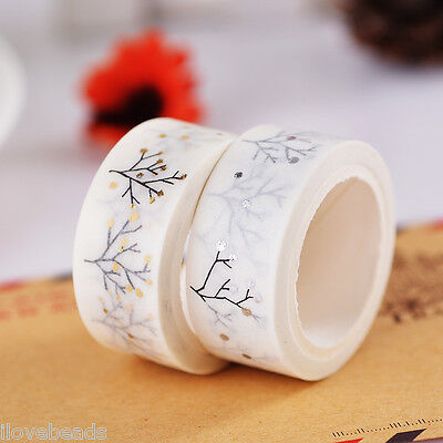 2Rolls 15mm Washi Tree Pattern Self-adhesive Paper Tape Scrapbooking DIY Decor