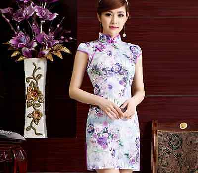 Short sleeve Oriental Cheongsam Cheong-Sam Qipao Dress in Purple Rose Flower