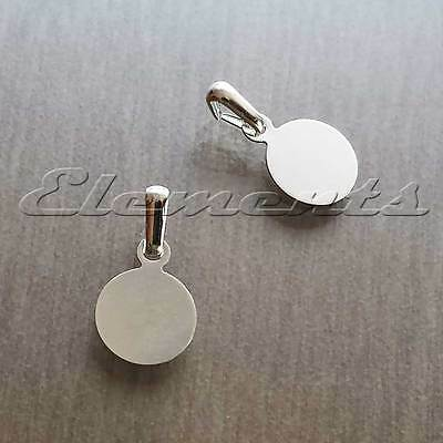 Silver Plated Small 8mm Round Disc Glue On Pendant Pad With Bail Findings BM166