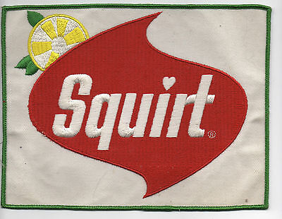 Original Vintage 1970s SQUIRT Soda Soft Drink Embroidered Cloth Patch Large NOS