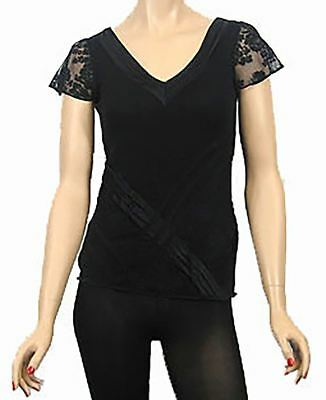 Womens Evening Party Top Black Satin Lace Trim Short Cap Sleeve