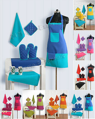 8Pcs 100% Cotton Kitchen Apron Set Oven Gloves Matchig Tea Towels & Plate Holder