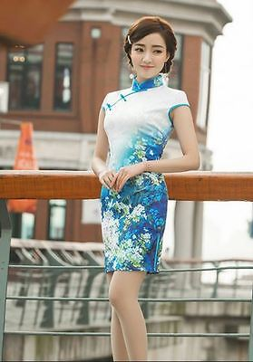 Short sleeve Oriental Cheongsam Cheong-Sam Qipao Dress Blue in Floral Print
