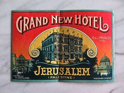 GRAND NEW HÔTEL, JERUSALEM, PALESTINE...RARE ORIGINAL RICHTER LABEL...1880s
