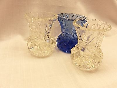 3 x cut glass posy vase 2 x clear 1 x cobalt blue thistle bud lovely