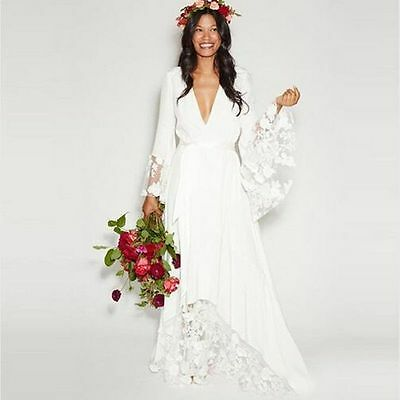 New Beach Boho Wedding Dresses Bohemian Deep V Neck Lace Bridal Gown Custom Size