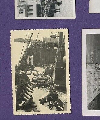 Luftwaffe Soldiers Lounging on Ship Deck - Vintage German War WWII Photo