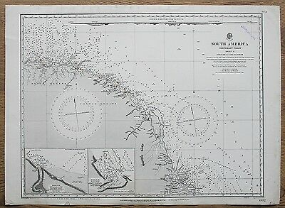 1852 Dutch French Guiana Surinam To Cabo Do Norte Vintage Admiralty Chart Map