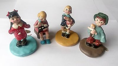 1958 Napco Children Figurines Pottery Porcelain Lot of 4