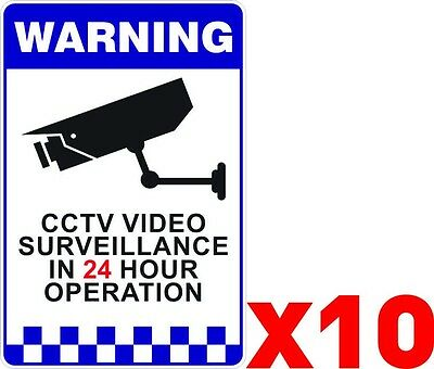 BULK x10 Warning CCTV Security Surveillance Camera Adhesive Stickers 200x300mm