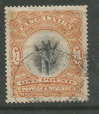 Tanganyika Sg88 The 1922 Gv £1 Yellow Orange Wat Sideways Fine Used Cat £650