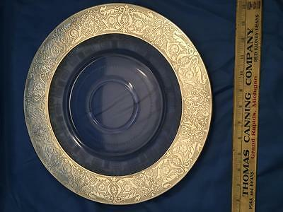 Art Nouveau Sterling Silver Repousse Etched Glass Charger Large Nice!