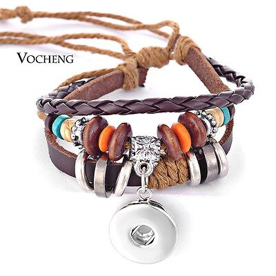 10pcs/lot 18mm Snap Jewelry Multilayer Genuine Leather Charm Bracelet NN-255*10